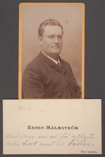 Ernst Malmström (1853-1914), svensk skådespelare.