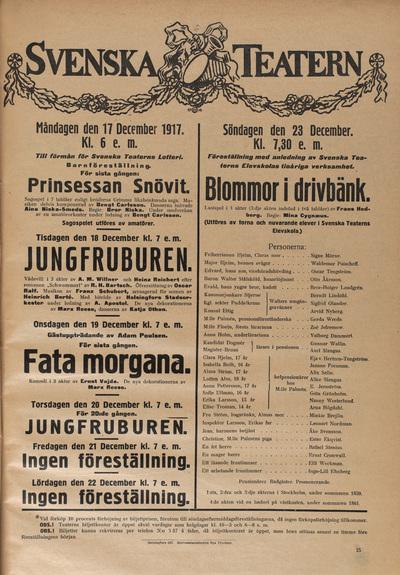 Svensk Teaterns affisch från 1917.