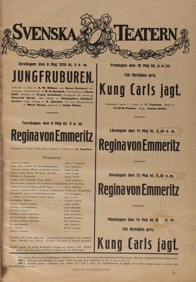 Svensk Teaterns affisch från 1918.
