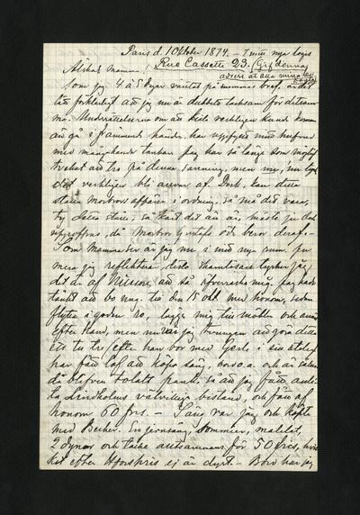 Paris d. 1 Oktober 1874. – I mitt nya logis Rue Cassette 23.