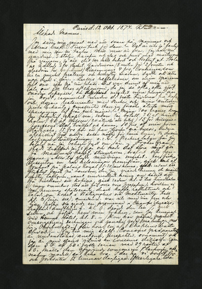 Paris d. 12 Okt. 1874. Kl. 3 e.m.
