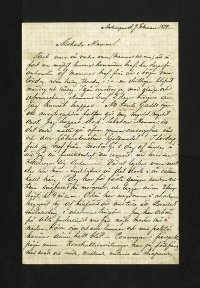 Antwerpen d. 9 Februari 1874. –