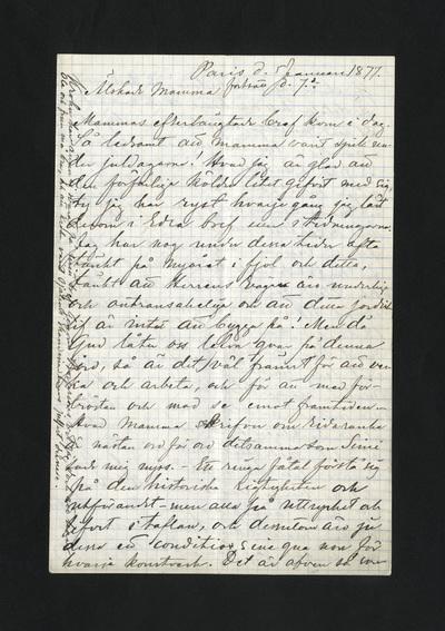 Paris d. 5 Januari 1877. fortsatt d. 7de