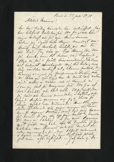 Paris d. 23 Juli 1878