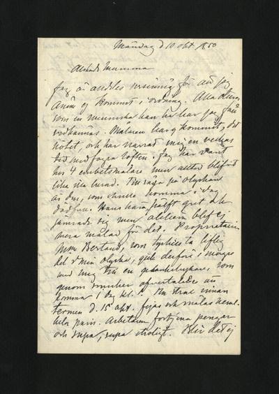 Måndag d 10 okt 1880