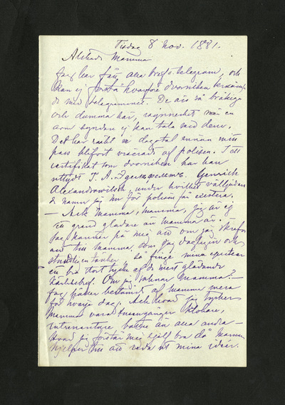 Tisdag 8 nov. 1881