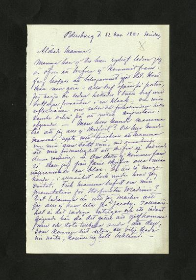 Petersburg d. 12 nov. 1881 söndag