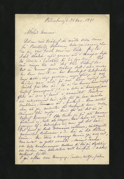 Petersburg d. 26 nov. 1881