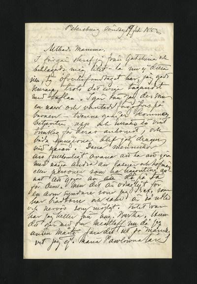 Petersburg söndag 19 febr 1882