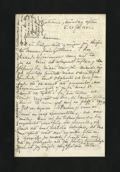 Gatschina, måndag afton d. 20 febr. 1882