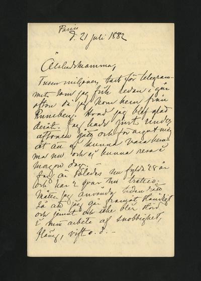 Paris d. 21 Juli 1882