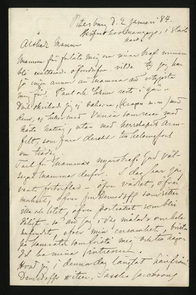 Petersburg d. 2 januari 84 Skrifvet hos Manzeys, i största hast.