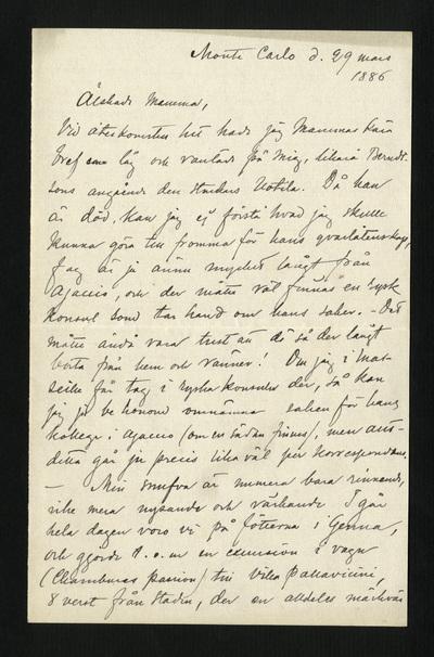 Monte Carlo d. 29 mars 1886