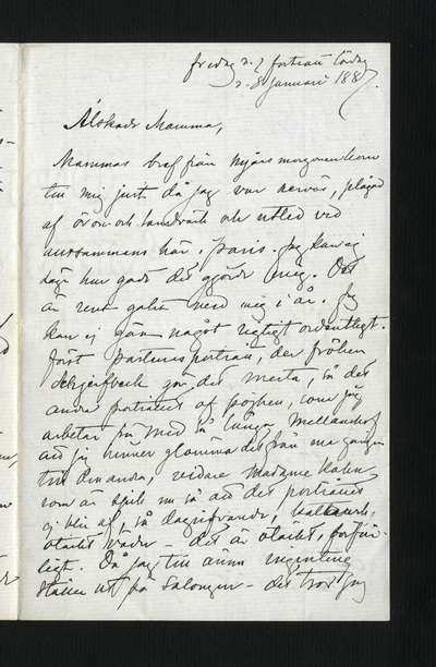 fredag d. 7 fortsatt lördag d. 8 januari 1887.