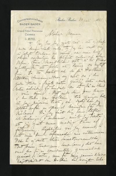 Baden Baden 30 Juli 1888