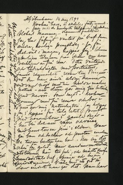 Kjöbenhavn 14 maj 1894