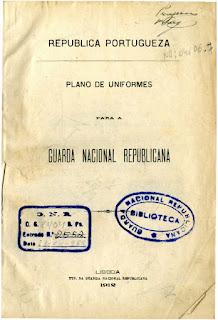 Plano de Uniformes para a  Guarda Nacional Republicana [GNR]