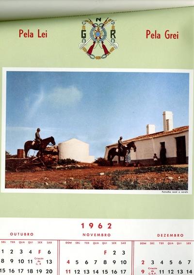 Calendário da Guarda Nacional Republicana [GNR] ano de 1962 (outubro-dezembro): [visual gráfico] patrulha rural a cavalo