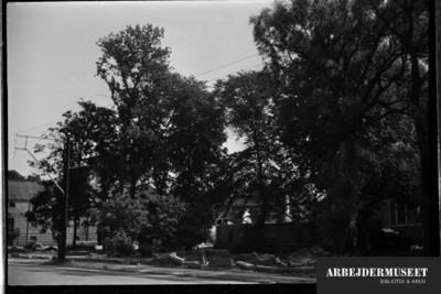 Nedrivning af et gammelt hus i Glostrup, muligvis til Vilh. Lauritzens Rådhus, buske og træer