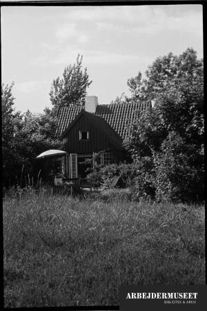 Sommerland, Danmark. Sommerhus med åben dør og parasol udenfor