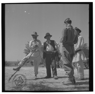 Trei țărani cu pălarie vorbind cu un tânăr