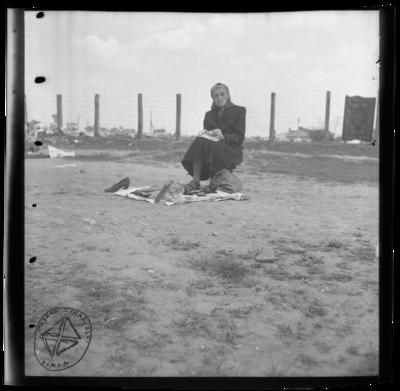 Vânzare la drum: bătrâna lângă gard, cu covor