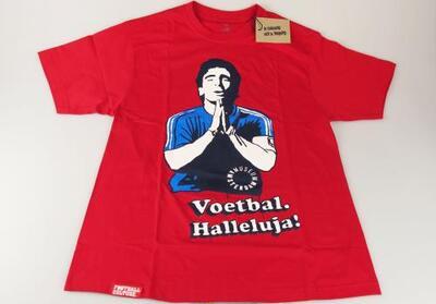 T-shirt ter promotie van tentoonstelling 'Voetbal Halleluja!'