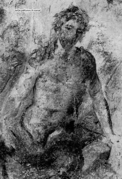 Wandmalerei aus dem Oecus der Casa dei Vettii: Eros und Pan