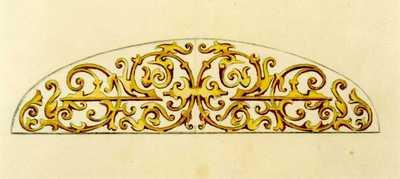 Manufacture de Céramiques Décoratives de Hasselt (1895-1954), ontwerptekening voor een boogvormig tegelpaneel met geometrisch motief, s.d., potlood, waterverf op papier.