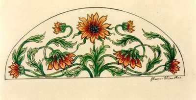 Manufacture de Céramiques Décoratives de Hasselt (1895-1954), ontwerptekening voor een boogvormig tegelpaneel met zonnebloemen, s.d., potlood, inkt, waterverf op papier.