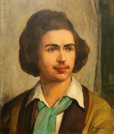 Jos. Damien (1879-1973), Zelfportret - 19 jaar, 1898, olie op doek.