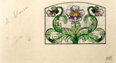 Manufacture de Céramiques Décoratives de Hasselt (1895-1954), ontwerptekening voor een tegelpaneel met bloemmotief, 1895-1914, potlood, inkt, waterverf op papier.