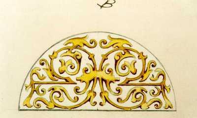 Manufacture de Céramiques Décoratives de Hasselt (1895-1954), ontwerptekening voor een halfrond tegelpaneel met krullen in geel en oker, s.d., potlood, waterverf op papier.