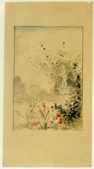 Manufacture de Céramiques Décoratives de Hasselt (1895-1954), ontwerptekening voor een tegelpaneel met tuindecor met beeldje van Cupido op zuiltje, 1895-1914, potlood, waterverf op papier.