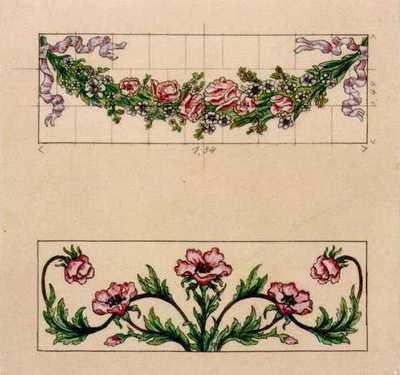 Manufacture de Céramiques Décoratives de Hasselt (1895-1954), ontwerptekening voor twee tegelpanelen met loemenguirlande en bloemenmotief, s.d., potlood, inkt, waterverf op papier.