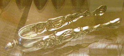 Jacques Vinckenbosch (1798-1876), suikertang, meestermerk JV, midden 19de eeuw, Hasselts zilver.