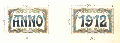 Manufacture de Céramiques Décoratives de Hasselt (1895-1954), ontwerptekening voor twee tegelpanelen met opschrift Anno en 1912, 1912, potlood, inkt, waterverf op papier.