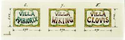 Manufacture de Céramiques Décoratives de Hasselt (1895-1954), ontwerptekening voor drie tegelpanelen met tekst Villa Ambiorix, Villa Wiking en Villa Clovis, s.d., potlood, waterverf, inkt op papier.