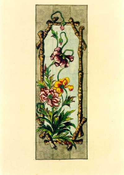 Manufacture de Céramiques Décoratives de Hasselt (1895-1954), ontwerptekening voor een tegelpaneel met stokken en papavers, s.d., inkt, potlood, waterverf op papier.
