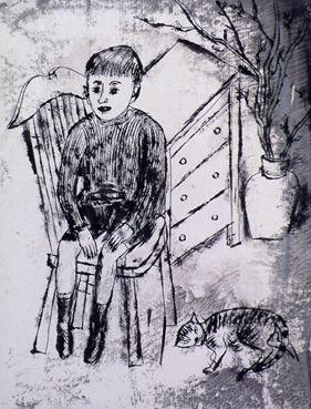 Jongetje en kat