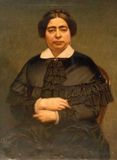Godfried Egide Guffens (1823-1901), portret van een gezeten dame, s.d., olie op doek.