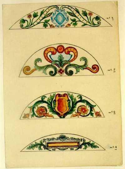 Manufacture de Céramiques Décoratives de Hasselt (1895-1954), ontwerptekening voor vier halfelipsvormige tegelpanelen met bloemmotieven en schilden, s.d., potlood, inkt, waterverf op papier.