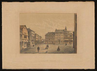 Charles Joseph Hoolans (1814-1866) lithograaf, Simonau & Toovey drukker, Hasselt - Grand'Place, 1860, lithografie.