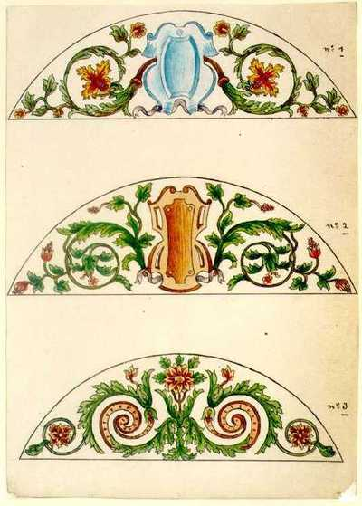 Manufacture de Céramiques Décoratives de Hasselt (1895-1954), ontwerptekening voor drie halfellipsvormige tegelpanelen met bloemmotieven, s.d., inkt, waterverf op papier.