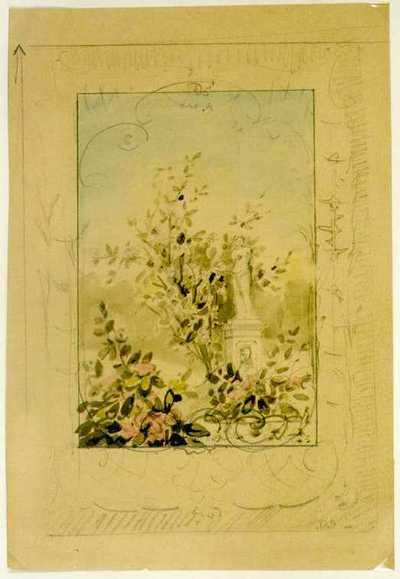 Manufacture de Céramiques Décoratives de Hasselt (1895-1954), ontwerptekening voor een tegelpaneel met tuindecor en standbeeld van Venus van Milo, 1895-1914, potlood, waterverf op papier.