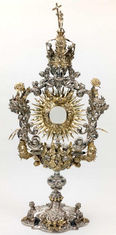 Nicolaas III Sigers (1636-1675) edelsmid, Steven van der Locht (1620-1675) edelsmid, Zonnemonstrans, 1669, deels verguld zilver, edelsteen, kristalglas, ijzer.