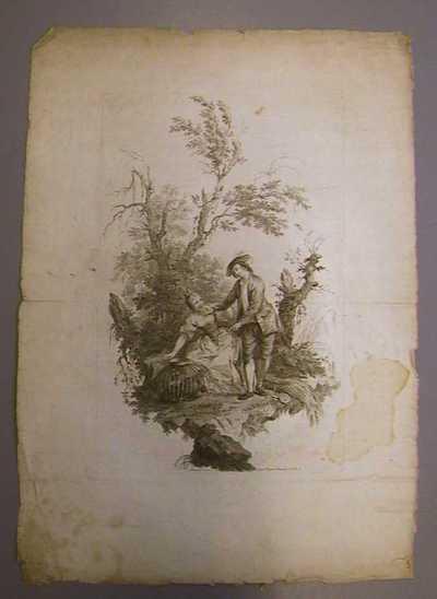 Anoniem, prent met staande jongeman en een jonge vrouw in landschap, s.d., papier, ets.