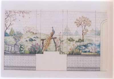 Manufacture de Céramiques Décoratives de Hasselt (1895-1954), ontwerptekening voor een tegelwand met tuinlandschap met een pauw, een vijver en twee zwanen, s.d., potlood, inkt, waterverf op papier.
