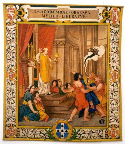 Jos. Damien (1879-1973), Duivelsuitdrijving in Herkenrodekerk, wandtapijt uit een reeks van zes, 1917, tempera op katoendoek.