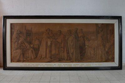 De dekens van de Hansesteden bieden hun charters en privileges aan om in het archief van de Sint-Michielsabdij Antwerpen te bewaren